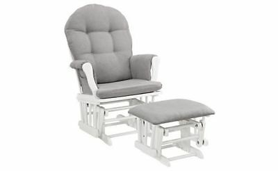 Windsor Glider and Ottoman White with Gray Cushion Nursery Seating Room Wood