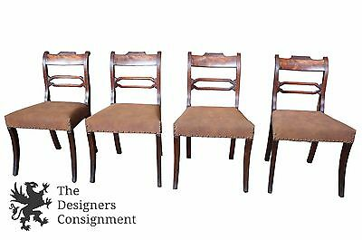 4 Antique Mahogany Duncan Phyfe Burlwood Dining Chairs Upholstered Seat