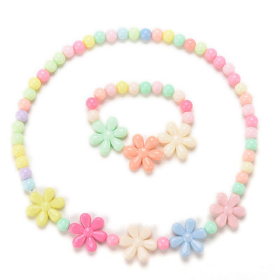 Girls Baby Toddlers Necklace&Bracelet Flower Kids Gift Party Jewelry Baby EP