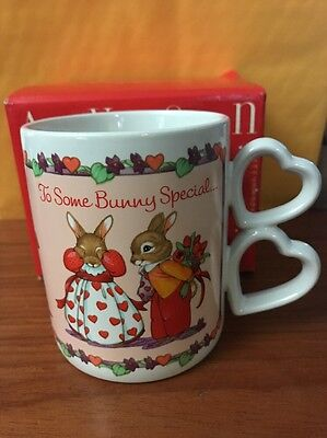 Avon Valentines Day Some Bunny Is Special Porcelain Mug With Heart Handles! New
