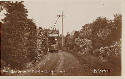 EARLY ESSEX RP POSTCARD: THORPE BAY with tram