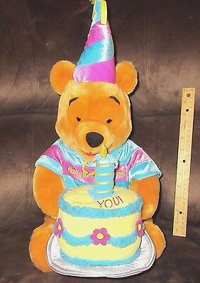 "Winnie the Pooh Lg 17"" Plush Toy Happy Birthday Disney  Party Hat Cake Candle"