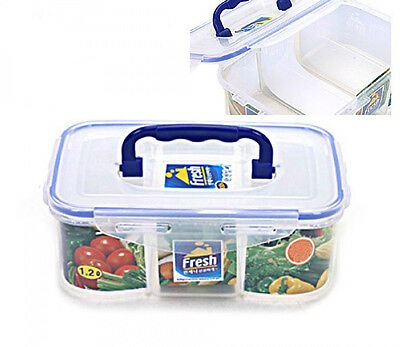 Rectangular Airtight Divided Food Storage Containers Lunch Box Food Saver 1.2L