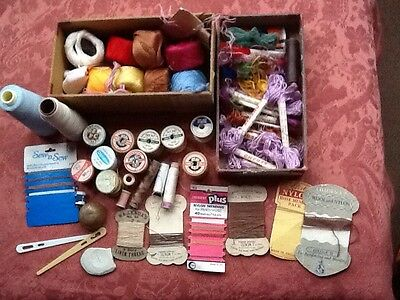 vintage sewing, cotton, threads, tailors beeswax, odd items