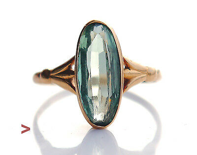 1929 Antique European Ring solid 18K Gold Green Sapphire Size 7 US / 2