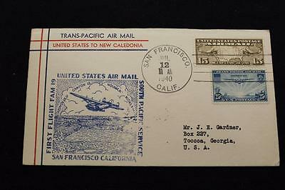 1St Flight Cover 1940 Hand Cancel Trans-Pacific Air Mail Sfo To Noumea (3178)