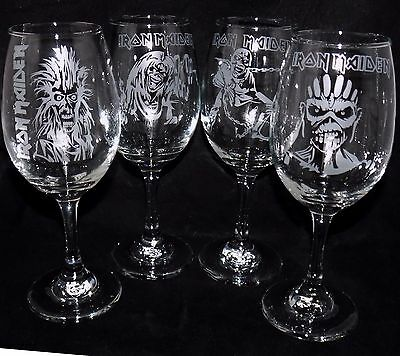"""New Etched XL """"IRON MAIDEN - GROUP OF 4"""" Set - Can Be Gift Boxed - Great Gift"""