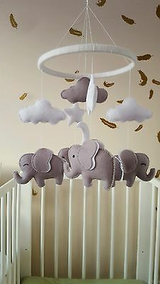 handmade felt unisex grey and white elephant star and cloud baby nursery mobile