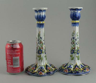 Matching Pair French Hand Painted Faience Desvres Mosanic Candlesticks 24cm