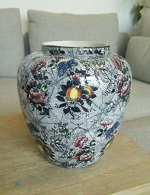 Vintage Vase or Chinese Ginger Jar with Cobweb, Flowers and Butterflies deco