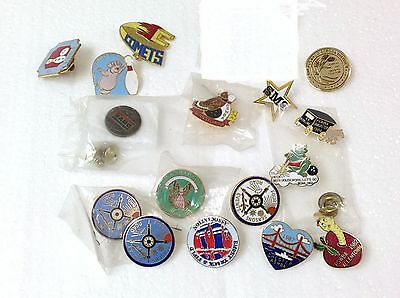 19 Vintage SPORTS Pinbacks - COMETS, BOWLING, TRACK & FIELD, 4 SEASON ROAD,