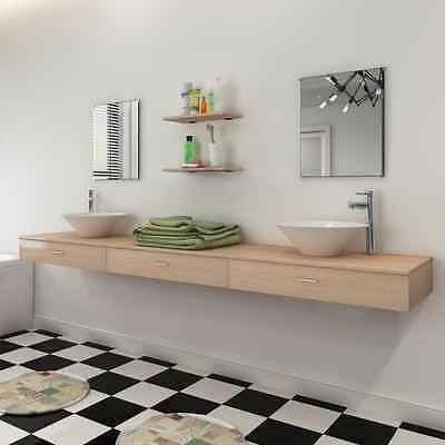9 Piece Wall-mounted Bathroom Furniture Set with Basin/Tap/Cabinet/Shelf/Mirror