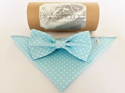 Turquoise Blue Polka Bow Tie & Pocket Square- Handmade Gifts For Him Wedding Bow