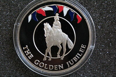2002 Falkland Island QEII Golden Jubilee coloured proof coin in capsule.