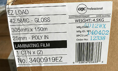 GBC Laminating Film. 2 Roll Pack. 305mmx150m. No. 3400919EZ. 25mm Poly IN. Gloss