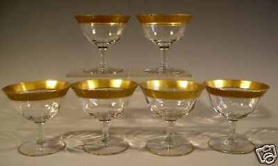Set of 6 Glass Compotes with Gilt Decoration Border
