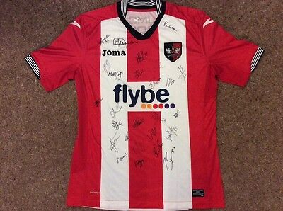 Exeter City FC Home Shirt 2016-2017 Season signed by the 1st Team Squad Large