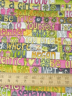 Heart And Soul Sisters Words By Hoffman California Cotton Fabric Fh-3046 By Yard