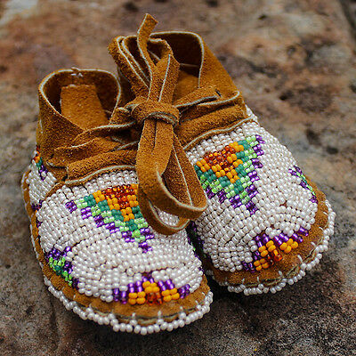 HAND BEADED BROWN LEATHER BABY MOCCASINS by JANET WHITEMAN - CHEYENNE