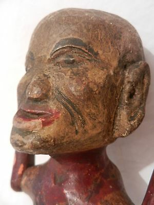 Antique Hand Carved Painted Wooden Indian Asian Buddha Figure
