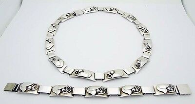 """Laurence Foss USA Handwrought 16"""" Necklace & 7-1/8"""" Bracelet in Sterling Silver"""