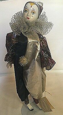 """16"""" Porcelain Harlequin Musical Clown Doll by Noble Heritage Collection-EUC"""