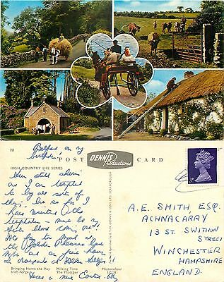 s06837 Irish country life, Northern Ireland postcard posted 1969 stamp