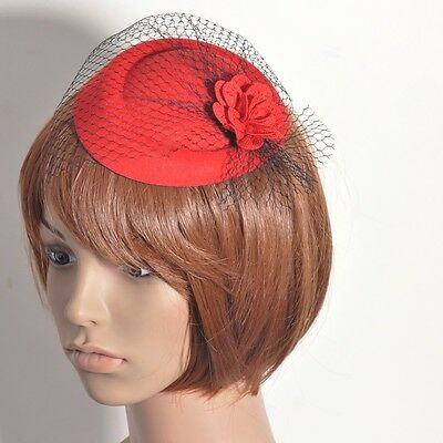 Party lady women pillbox hat flower red fascinator hair clip headpieces mesh