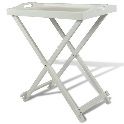 #sNew Folding Serving Tray Side Table Breakfast in Bed with Carry Handle White M