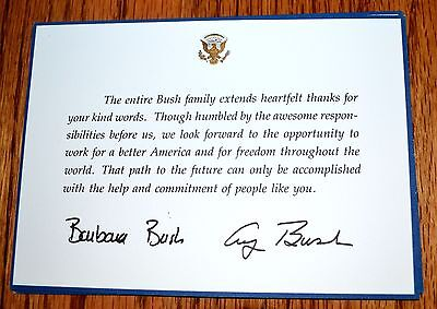 President George Bush & Barbara Bush Thank You Card To Election Supporters