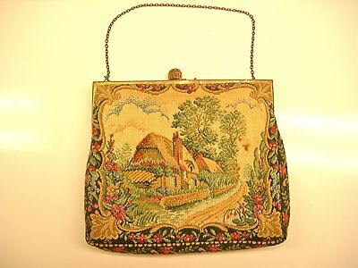 Vintage WALBORG Petit Point Tapestry Embroidered Chateaux Scene