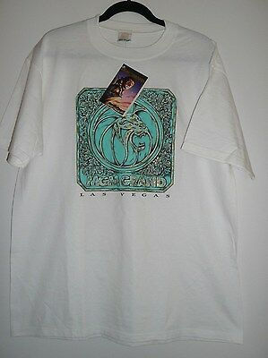MGM Grand Hotel & Casino Las Vegas White Graphic LIon T Shirt NEW NWT Size L