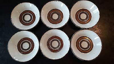 "6 Vintage Stonehenge Midwinter Earth 6.5"" Soup Cereal Bowls"