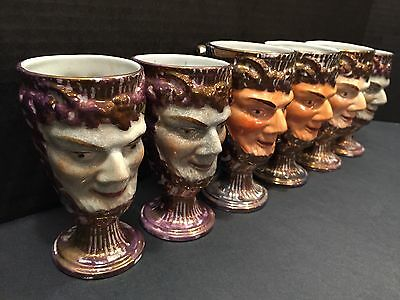 VTG Pink Lustre Staffordshire Satyr Mugs Tankards w/Surprise Toad Lot Of 6 NR