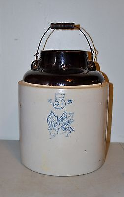 Antique Western Stoneware 5 Gallon Applesauce Crock with Handles No Lid