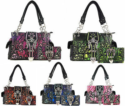 Justin West Camouflage Western Camo Rhinestone Buckle Conceal Carry Purse Wallet