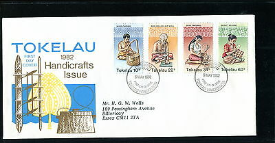 1982 Tokelau FDC. Handicrafts. First Day Cover. Basket Weaving, Carving, Shell