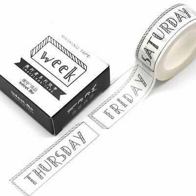 Washi Tape - Days of the Week Planner Travellers Notebook To-Do List 15mm x 7m