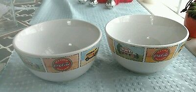 "Gibson Coca-Cola ~ 2 Piece Cereal Bowl Set ~ Good Ol' Days ~ 6"" Bowls ~ Used"