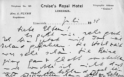 CRUISE'S HOTEL LIMERICK IRELAND POSTCARD POSTED in 1938 to GERMANY