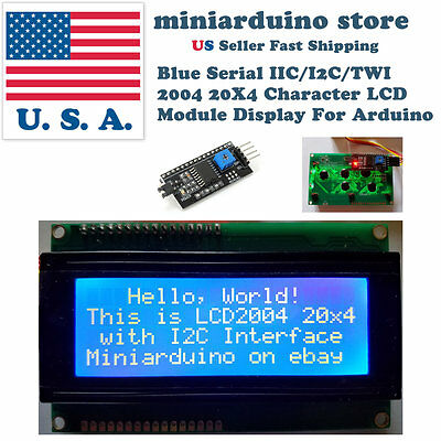 Blue Serial IIC I2C TWI 2004 20x4 Character 5v LCD Module Display Screen Arduino