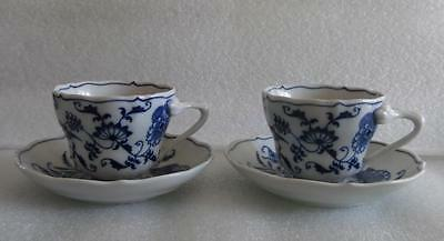 Set Of Two (2) Blue Danube Blue Onion Cup And Saucers Unused Banner Mark #3