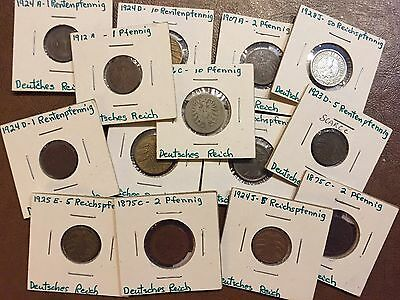 Assorted German Coins 1870s-1920s