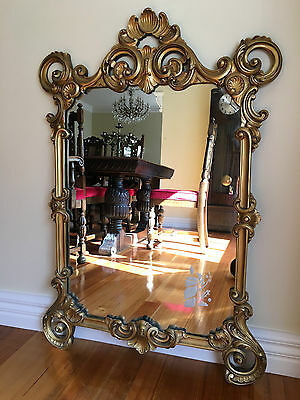 Gorgeous Large Vintage French Provincial Mirror Wall Hanging Gold Wooden Frame