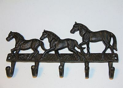 Decorative Cast Iron Wall Hook, Horse Bridle Holder, Wall Decor Three Stallions