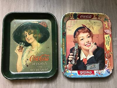 Lot of 2 Vintage Coca Cola Coke Metal Trays - All Seasons Holiday, Lady with Hat