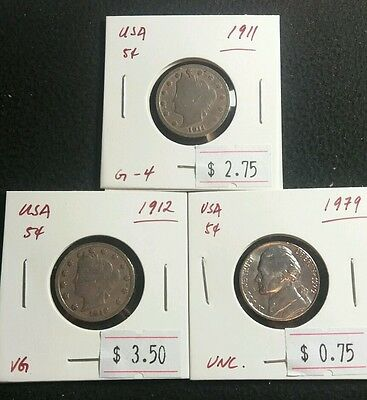 USA 5 cent 1911 1912 1979 Liberty Head and Jefferson Nickels Nice Coins Lot#312