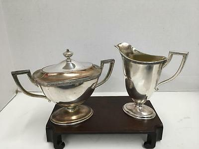VTG Homan MFG Co. Nickel Silverplate Sugar/Creamer Art Deco Set Made USA #0660