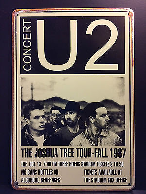 U2 Concert 1987  Vintage Retro Style Metal Wall Sign  20X30 Cm Irish Rock Band