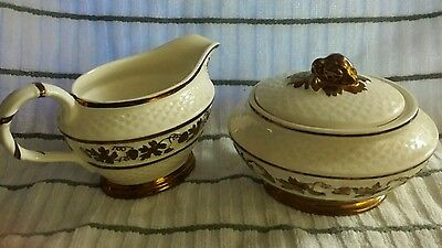 3 pc Wade England cream and sugar hand painted ivory/gold